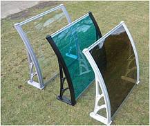 Козырек 1х1,2м навес из поликарбоната сотового с кронштейнами и крепежом бронза, фото 2