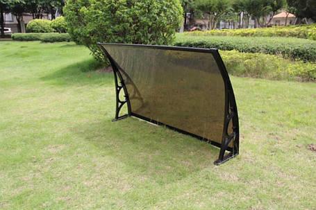 Козырек 0,7х1,0м навес из поликарбоната сотового с кронштейнами и крепежом бронза, фото 2