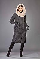 Пуховик женский зимний тёплый чёрный на изософте с капюшоном Marshal Wolf