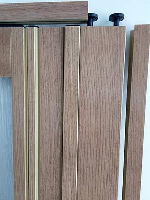 Двери гармошка полу остекленные  бук 503, 860х2030х12мм, фото 2