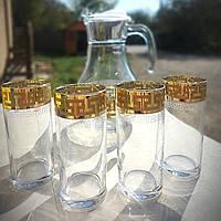 Кувшин со стаканами с золотом 7 пр Гусь-Хрустальный Греческий узор (EAV03-3934/402/S), фото 1