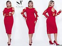 """Шикарное женское платье с прозрачной стрейч-сеточки, ткань """"Креп-Дайвинг"""" 48, 50, 52 размер 48"""