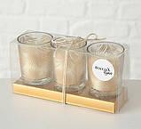 Набор подсвечников 3х h6 d5см золотое стекло 1009920 подсвечники комплект подсвечник стакан, фото 5
