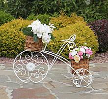 Кашпо велосипед 3-х колёсный с корзинами из лозы 60*46*30 см 20190422