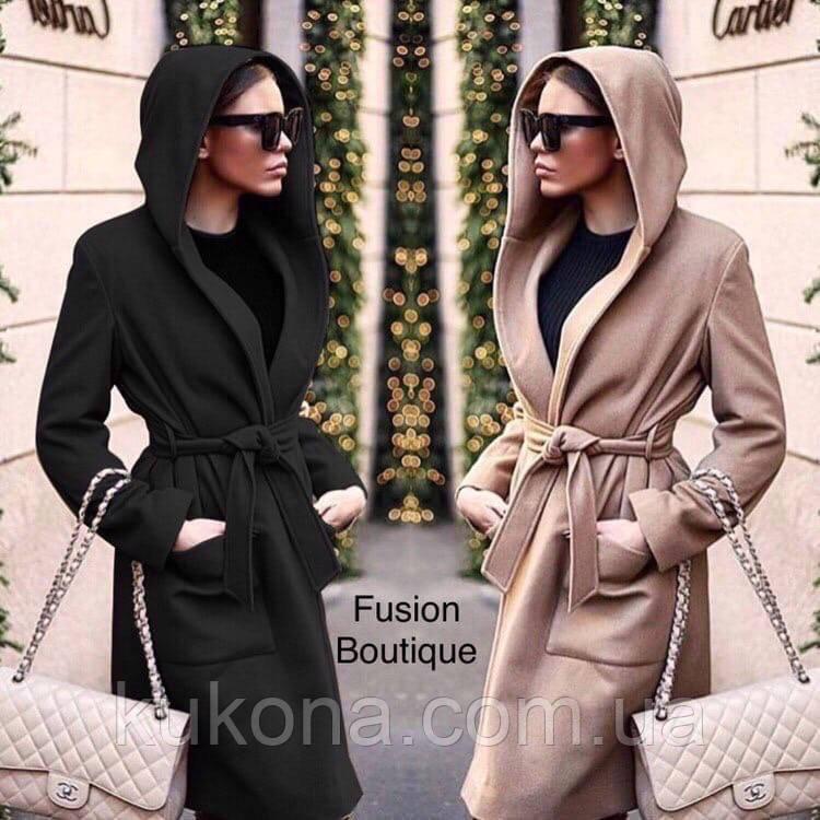 Пальто кашемировое на подкладке с капюшоном женское демисезонное. Размер: 42-44; 44-46. Цвет: чёрный, бежевый.