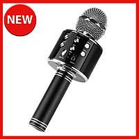 Караоке микрофон для детей Микрофоны блютуз беспроводной с колонкой Черный Black WS-858 Музыкальные игрушки