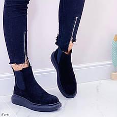 Ботинки женские черные, демисезонные из эко замши. Черевики жіночі чорні з еко замші, фото 2