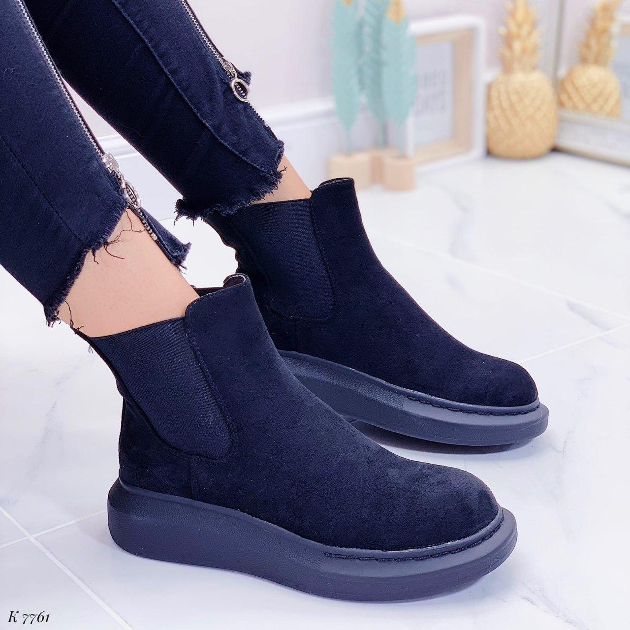 Ботинки женские черные, демисезонные из эко замши. Черевики жіночі чорні з еко замші