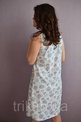Простая ночная сорочка голубые сердечки, фото 2