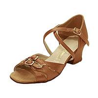 Обувь танцевальная для девочек блок каблук сатин
