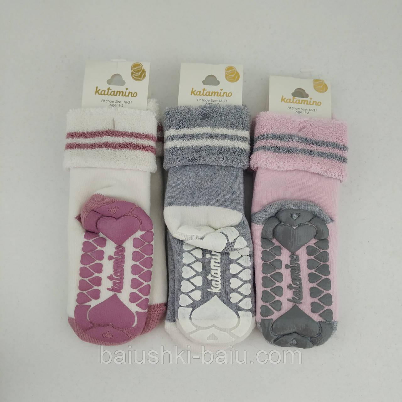Детские махровые носки с отворотами и протекторами для девочки на 12-24 мес, Турция