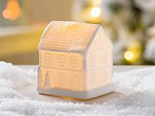 Led каганець Будиночок біла кераміка d10см 1008478