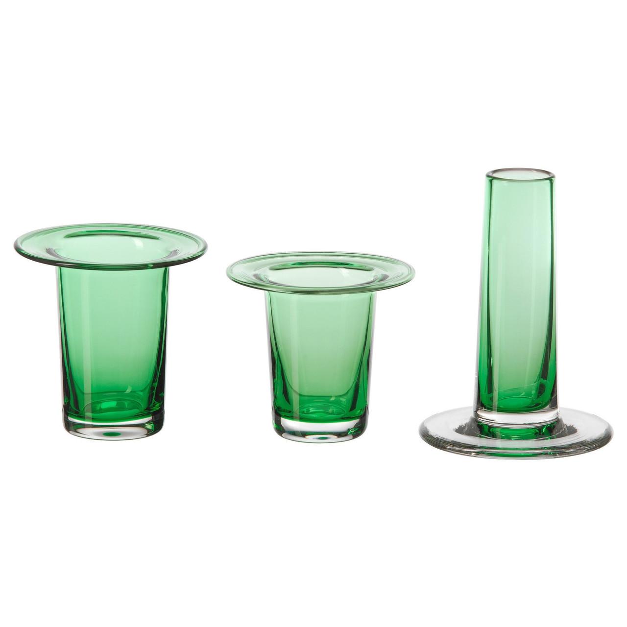 АНВЭНДБАР Ваза, 3 шт., зеленый, 10329997, ИКЕА, IKEA, ANVÄNDBAR