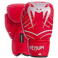 Перчатки боксерские для тренировок на липучке VENUM Искусственная кожа Красный (СПО MA-6751) 6 унций, фото 1