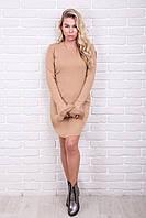 MsV Теплое женское платье с мехом на рукавах - бежевый цвет, S/M