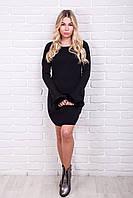MsV Теплое женское платье с мехом на рукавах - черный цвет, L/XL
