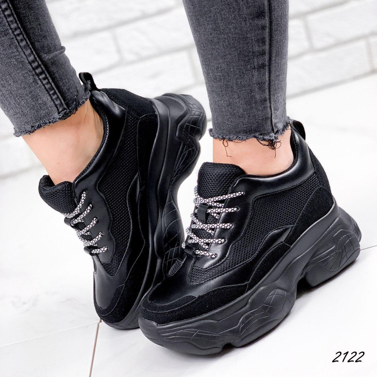 Кроссовки женские черные на платформе из эко кожи. Кросівки жіночі чорні на платформі
