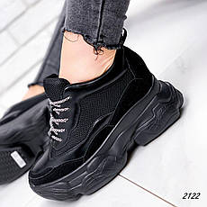 Кроссовки женские черные на платформе из эко кожи. Кросівки жіночі чорні на платформі, фото 2