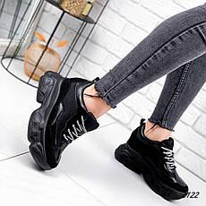 Кроссовки женские черные на платформе из эко кожи. Кросівки жіночі чорні на платформі, фото 3