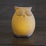 Led ночник Сова белая керамика h9см 1197000, фото 5