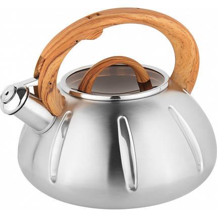Чайник из нержавеющей стали со свистком и стеклянной крышкой на 3 литра UNIQUE UN-5303, фото 2