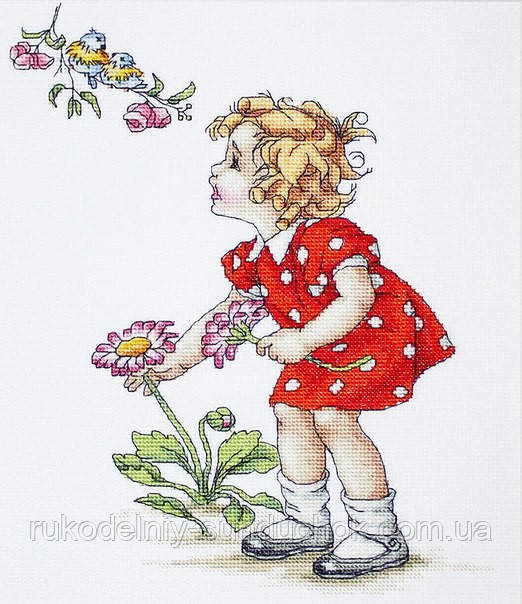"""Набор для вышивания крестом """"Luca-s"""" B1050 Девочка в красном платье"""