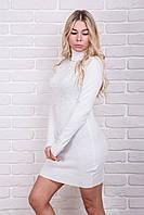MsV Осеннее платье с жемчугом и стразами - белый цвет, L/XL