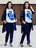Женский стильный костюм тройка: накидка из шифона, штаны и блуза короткий рукав, батал большие размеры, фото 2
