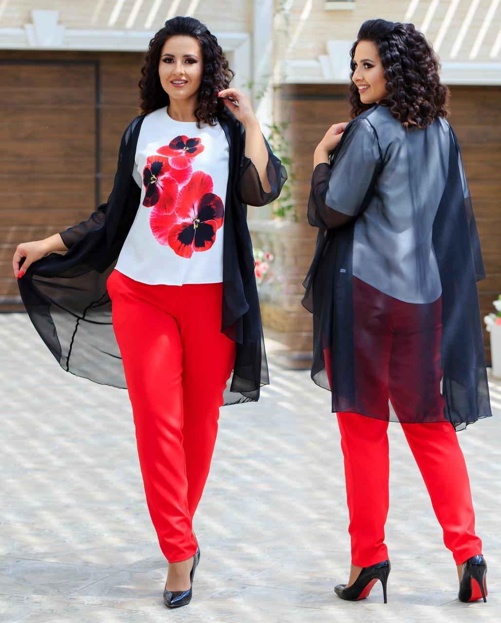 Женский стильный костюм тройка: накидка из шифона, штаны и блуза короткий рукав, батал большие размеры
