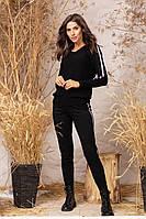Вязаный женский костюм чёрный 42-46, фото 1