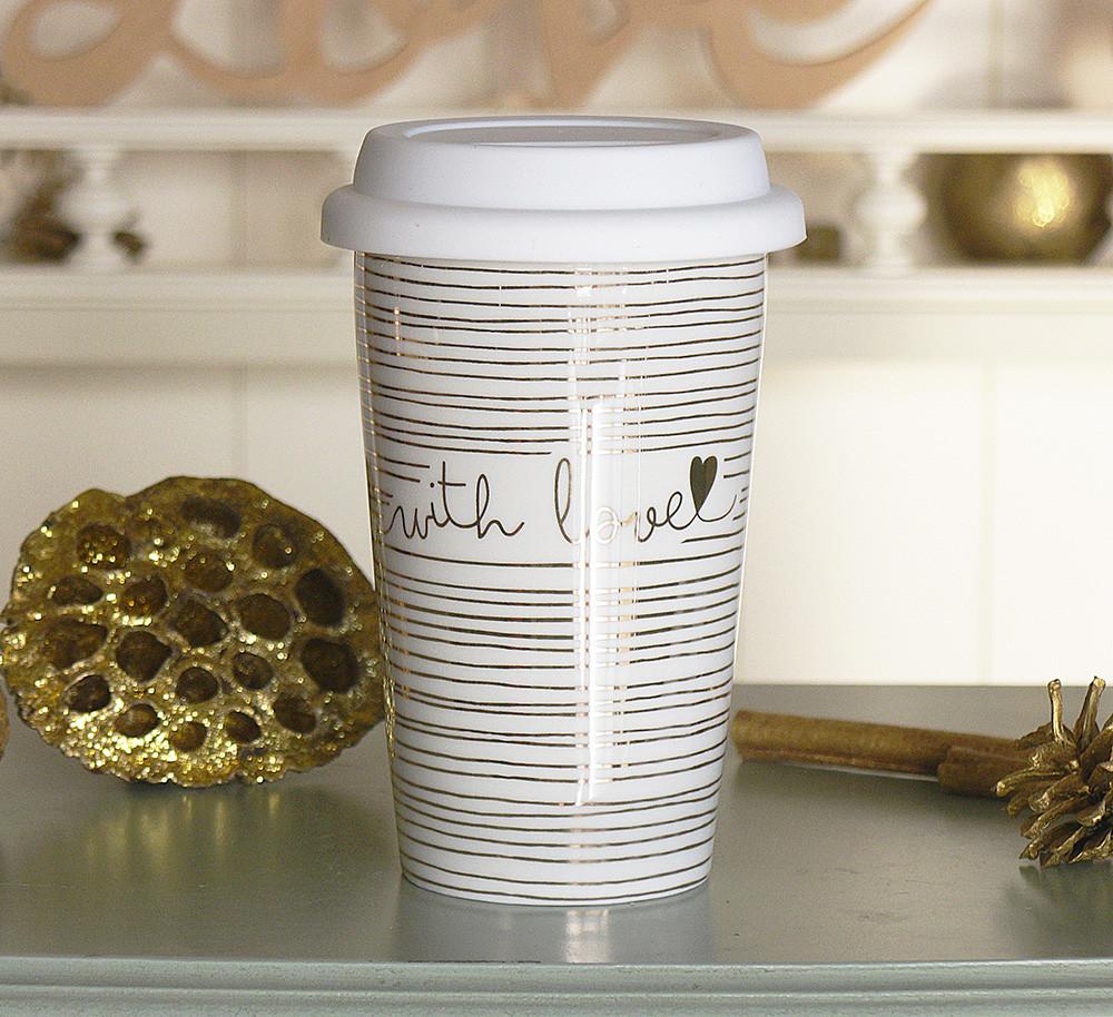 Чашка з кришкою беж кераміка 1020340