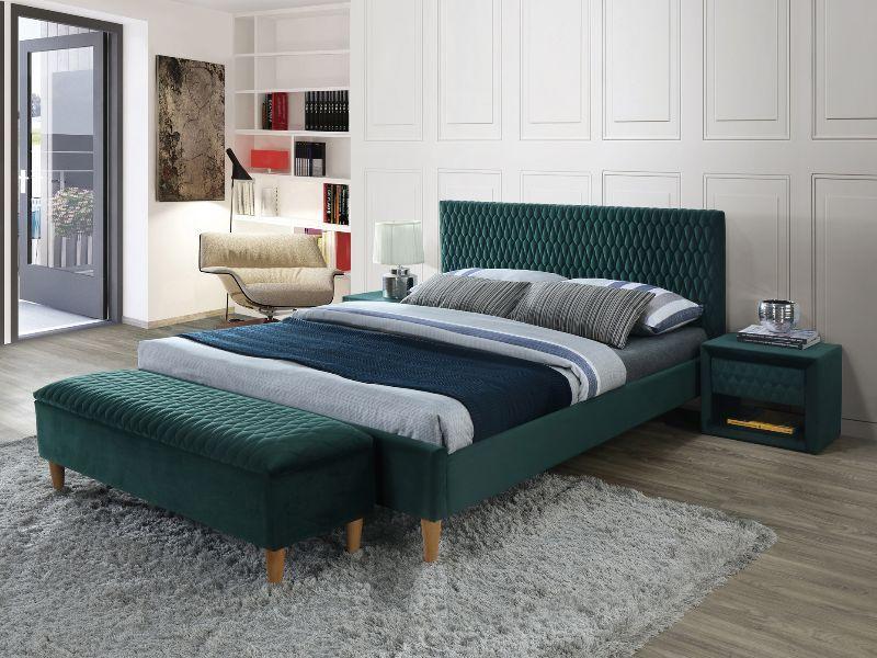 Кровать AZURRO VELVET 140 зеленый  (Signal)