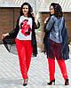 Женский стильный костюм тройка: накидка из шифона, штаны и блуза короткий рукав, супер батал большие размеры, фото 2