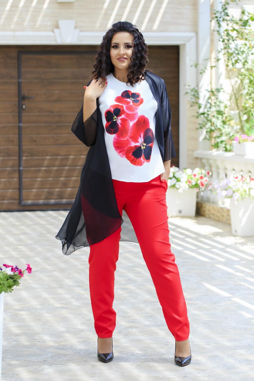 Женский стильный костюм тройка: накидка из шифона, штаны и блуза короткий рукав, супер батал большие размеры
