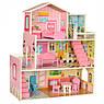 Кукольный домик большой с куклами и мебелью 2251 розовый. Ляльковий будинок деревяний, фото 4