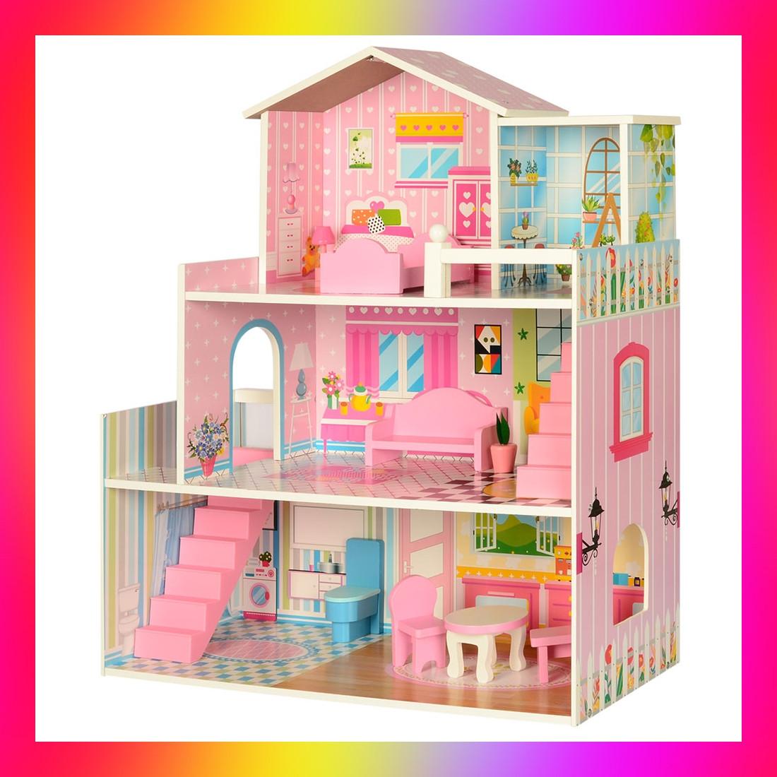 Кукольный домик большой с куклами и мебелью 2251 розовый. Ляльковий будинок деревяний