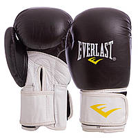 Перчатки боксерские для тренировок на липучке EVERLAST Натуральная кожа Черный-белый (MA-6750) 10 унций, фото 1