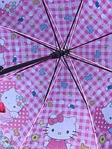 Зонт трость детский для девочек полуавтомат Rainproof рисунком «Хеллоу Китти» на 4-7 лет 1256577772, фото 3