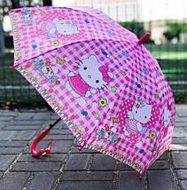 Зонт трость детский для девочек полуавтомат Rainproof рисунком «Хеллоу Китти» на 4-7 лет 1256577772, фото 2