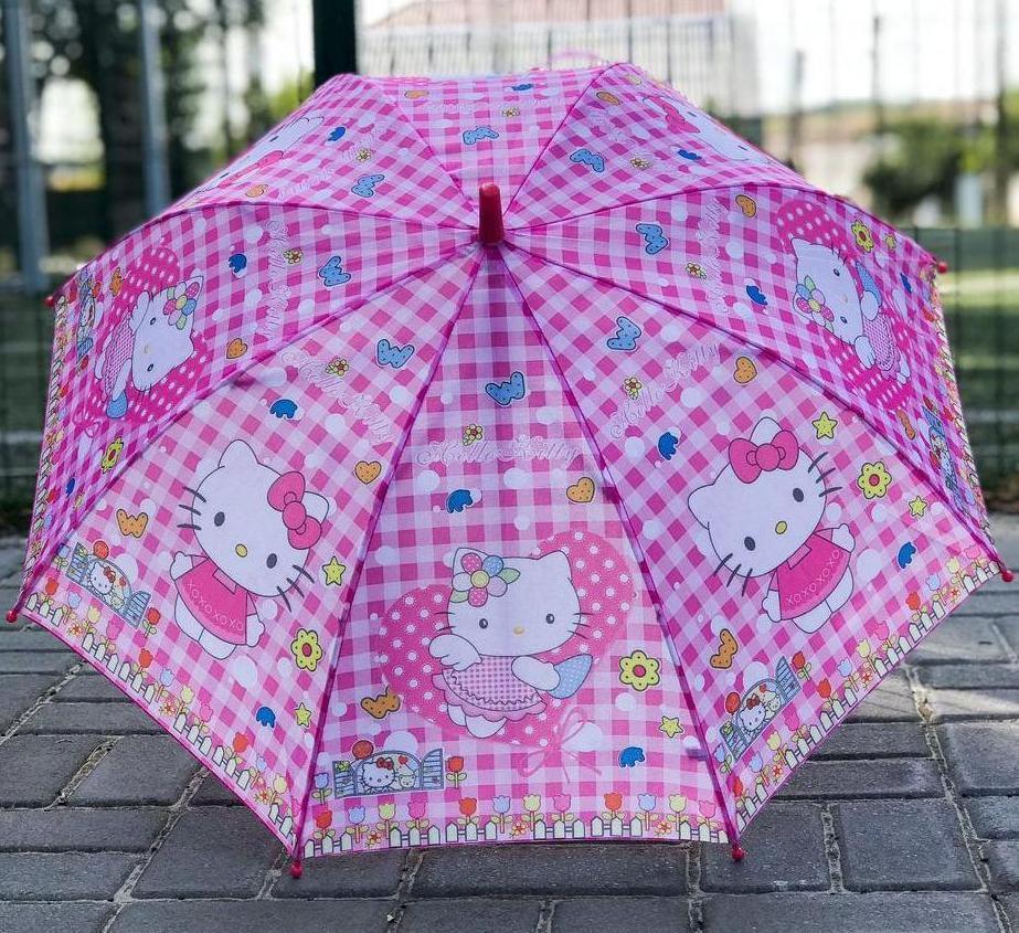 Зонт трость детский для девочек полуавтомат Rainproof рисунком «Хеллоу Китти» на 4-7 лет 1256577772