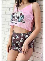 Женская шелковая пижама Мопс