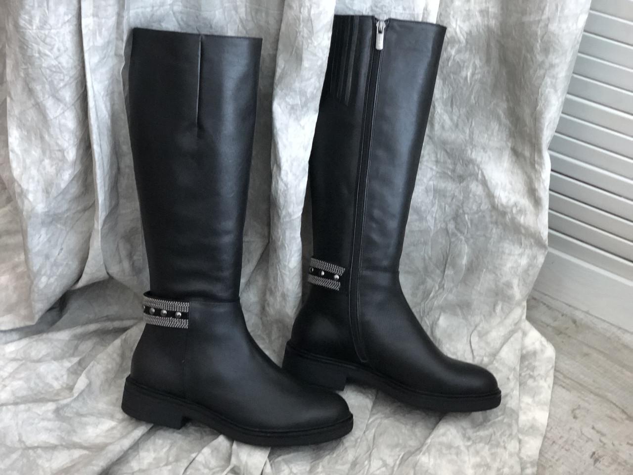 Кожаные женские сапоги высокие чёрные 20-255ч размеры 36-41