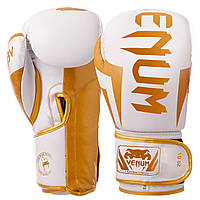 Перчатки боксерские для тренировок на липучке VENUM ELITE Натуральная кожа Белый Золотой (VL-8291) 10 унций, фото 1