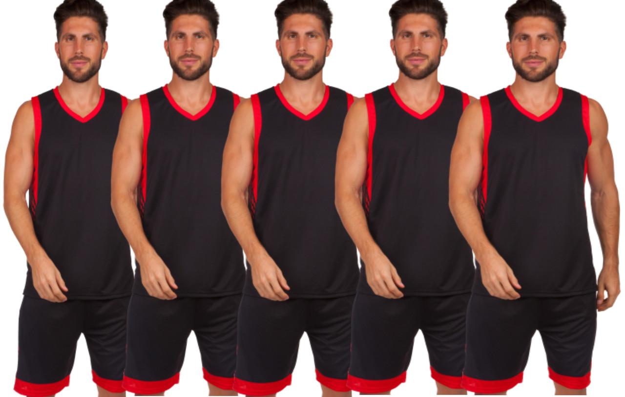 Форма баскетбольная мужская BasketBall Unifrom чёрно-красный (LD-8017)