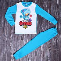 Пижама для мальчика с начесом Бравл Старс Леон 110-128см