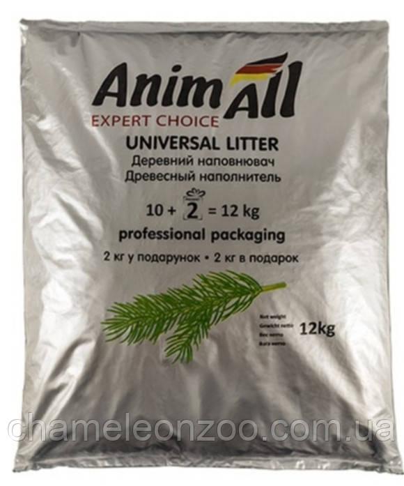 Наповнювач універсальний для котів, гризунів і птахів AnimAll Деревне всмоктуючий 10 кг + 2 кг в подарунок (32