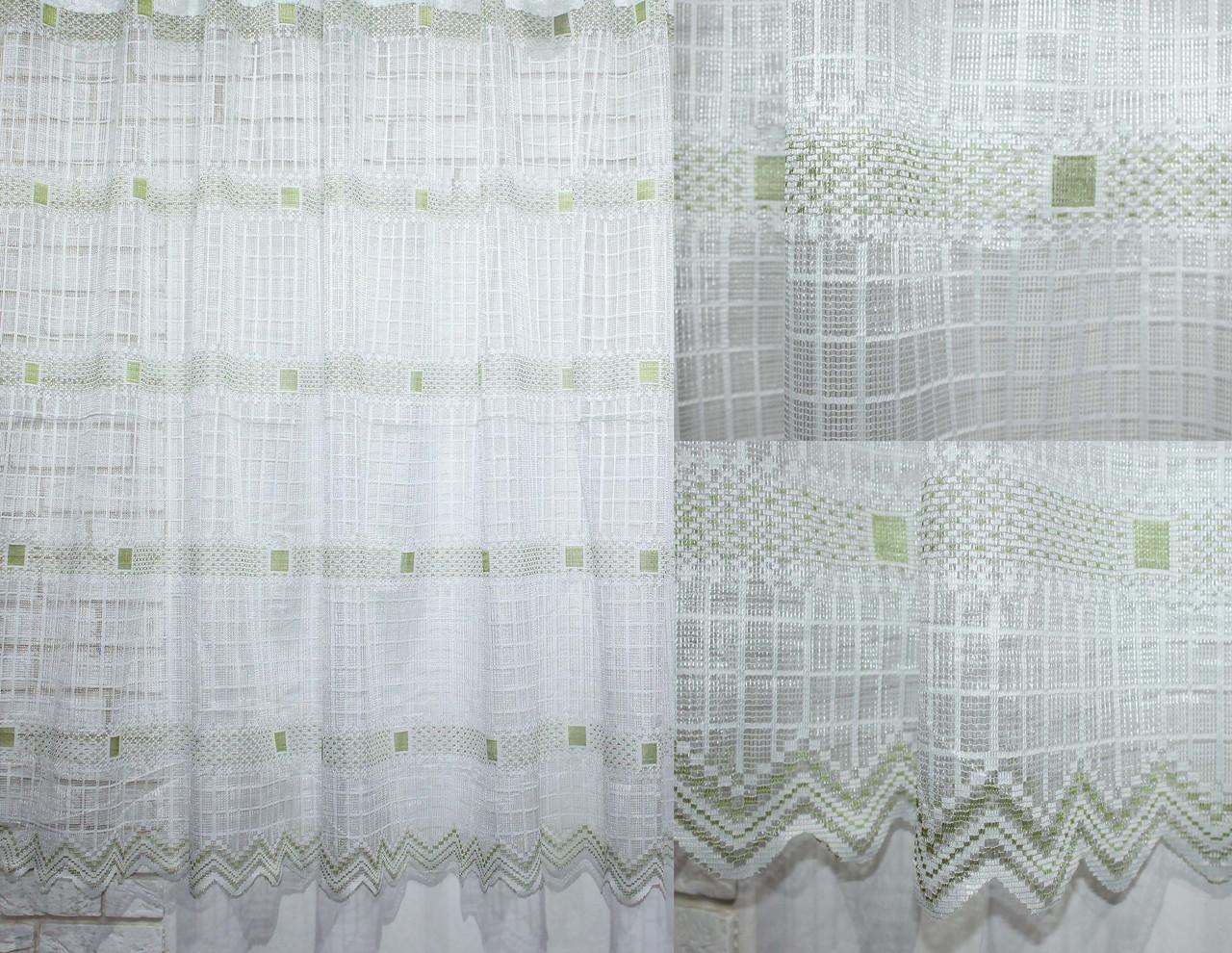 Тюль сетка, квадрат  цвет белый с зеленым. Код 603т