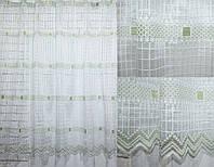 Тюль сетка, квадрат  цвет белый с зеленым. Код 603т, фото 1