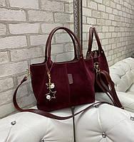Большая вместительная замшевая бордовая женская сумка на плечо шоппер натуральная замша+экокожа