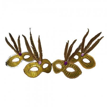 Маска маскарадная венецианская Фантазия (золотая), фото 2